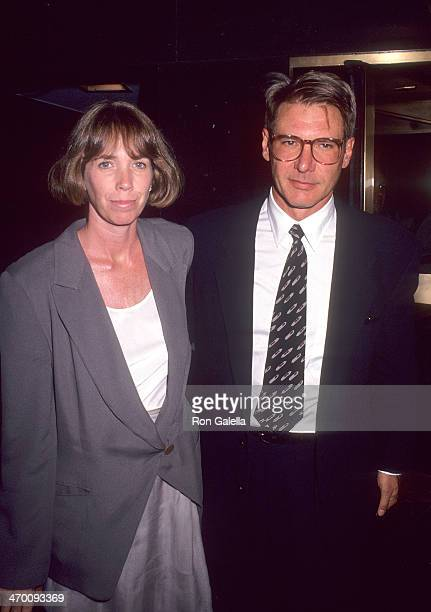 Actor Harrison Ford and wife Melissa Mathison attend the 'Regarding Henry' New York City Premiere on June 24 1991 at Loews Tower East in New York City