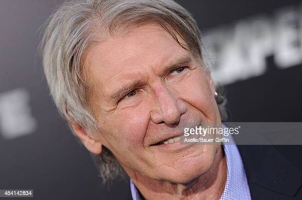 Actor Harrison Ford arrives at the Los Angeles premiere of 'The Expendables 3' at TCL Chinese Theatre on August 11 2014 in Hollywood California