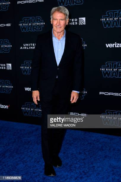 US actor Harrison Ford arrives for the world premiere of Disney's Star Wars Rise of Skywalker at the TCL Chinese Theatre in Hollywood California on...