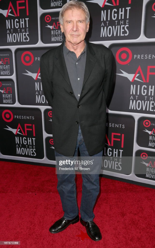 Actor Harrison Ford arrives on the red carpet for Target Presents AFI's Night at the Movies at ArcLight Cinemas on April 24, 2013 in Hollywood, California.