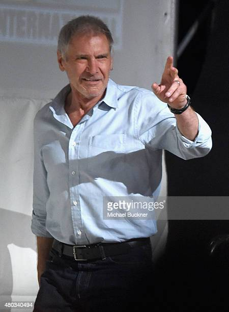 """Actor Harrison Ford at the Hall H Panel for """"Star Wars The Force Awakens"""" during ComicCon International 2015 at the San Diego Convention Center on..."""