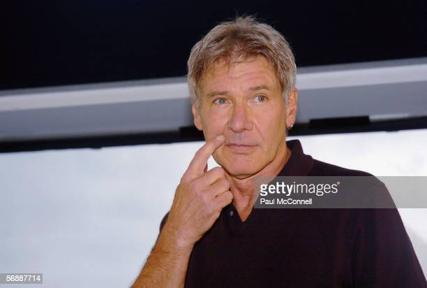 Actor Harrison Ford attends a press conference for his new film 'Firewall' at the Overseas Passenger Terminal on February 20 2006 in Sydney Australia