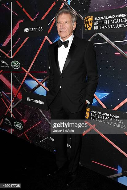 Actor Harrison Ford attends the 2015 British Academy Britannia Awards at The Beverly Hilton Hotel on October 30 2015 in Beverly Hills California