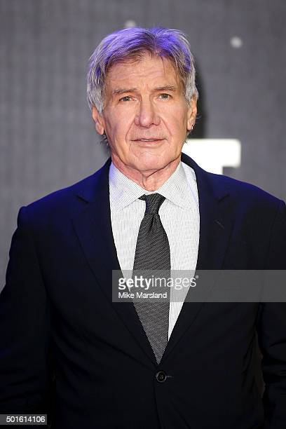 Actor Harrison Ford attends the European Premiere of 'Star Wars The Force Awakens' at Leicester Square on December 16 2015 in London England