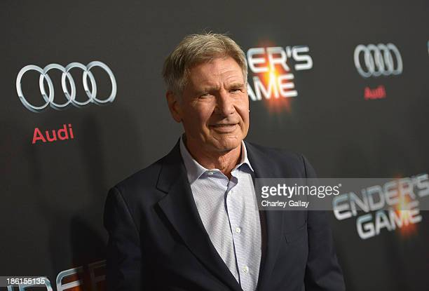 Actor Harrison Ford attends the premiere of Ender's Game presented by Audi at TCL Chinese Theatre on October 28 2013 in Hollywood California