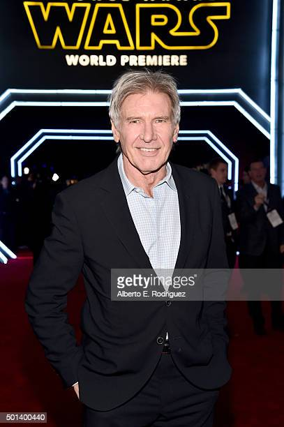 "Actor Harrison Ford attends the World Premiere of ""Star Wars The Force Awakens"" at the Dolby El Capitan and TCL Theatres on December 14 2015 in..."