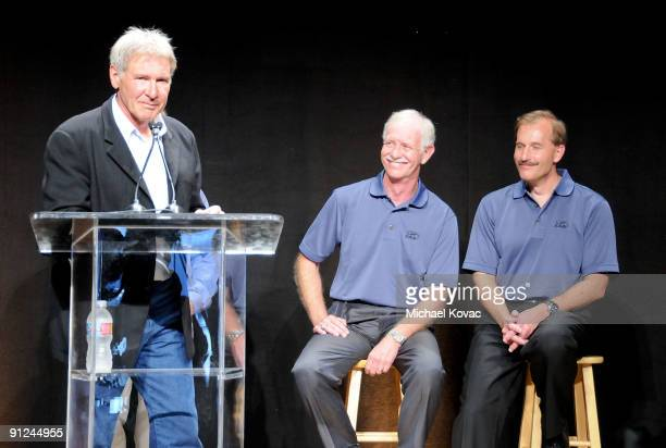 Actor Harrison Ford Captain Chesley Sully Sullenberger and first officer Jeffrey Skiles attend the EAA Young Eagles Press Conference at Santa Monica...
