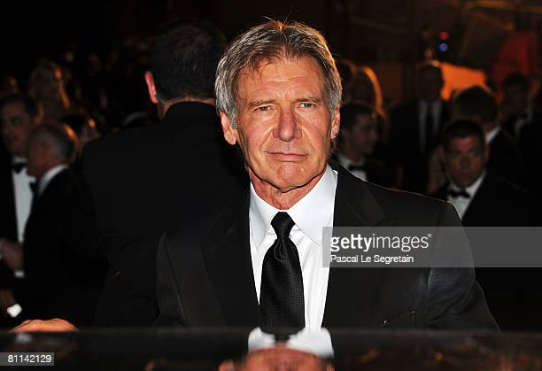 Actor Harrison Ford depart the Indiana Jones and The Kingdom of The Crystal Skull Premiere at the Palais des Festivals during the 61st International...