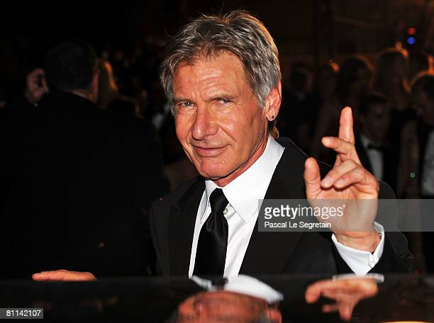 Actor Harrison Ford departs after the Indiana Jones and The Kingdom of The Crystal Skull Premiere at the Palais des Festivals during the 61st...