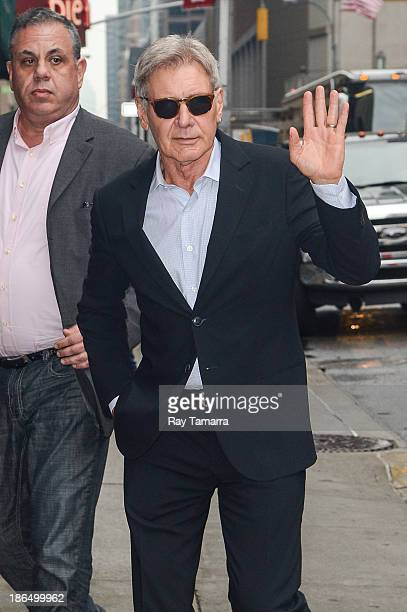 Actor Harrison Ford enters the Late Show With David Letterman taping at the Ed Sullivan Theater on October 31 2013 in New York City