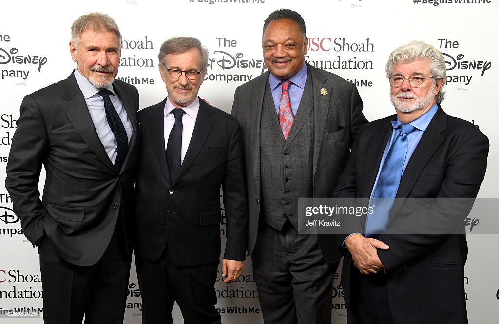 Actor Harrison Ford, founder, USC Shoah Foundation Steven Spielberg, Rev. Jesse Jackson and honoree George Lucas attend Ambassadors for Humanity Gala Benefiting USC Shoah Foundation at The Ray Dolby Ballroom at Hollywood & Highland Center on December 8, 2016 in Hollywood, California.