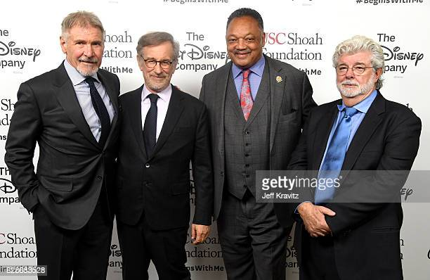Actor Harrison Ford founder USC Shoah Foundation Steven Spielberg Rev Jesse Jackson and honoree George Lucas attend Ambassadors for Humanity Gala...