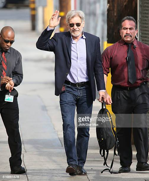 Actor Harrison Ford is seen at 'Jimmy Kimmel Live' on March 21 2016 in Los Angeles California
