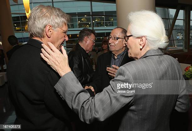 Actor Harrison Ford Jean Firstenberg and AFI Distinguished ScholarInResidence Jim Hosney attend Target Presents AFI's Night at the Movies at ArcLight...