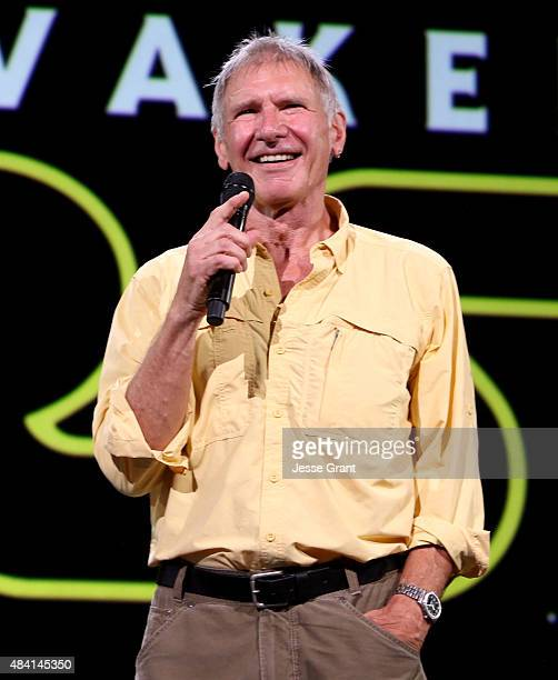 Actor Harrison Ford of STAR WARS THE FORCE AWAKENS took part today in Worlds Galaxies and Universes Live Action at The Walt Disney Studios...
