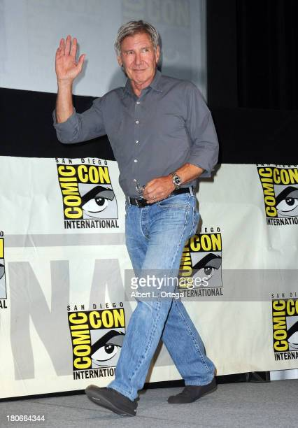 Actor Harrison Ford participates in Summit Entertainment's 'Divergent' and 'Ender's Game' panels on Day 1 of the 2013 ComicCon International held at...