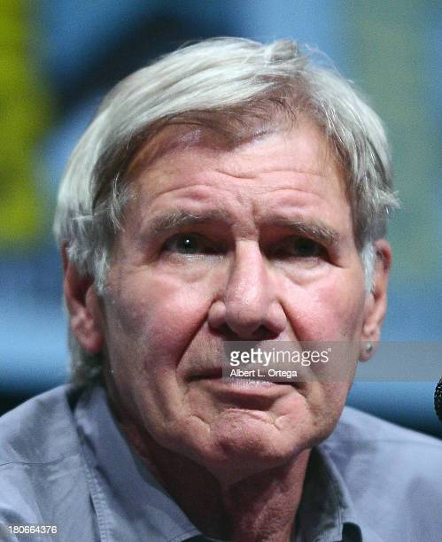"""Actor Harrison Ford participates in Summit Entertainment's """"Divergent"""" and """"Ender's Game"""" panels on Day 1 of the 2013 Comic-Con International held at..."""