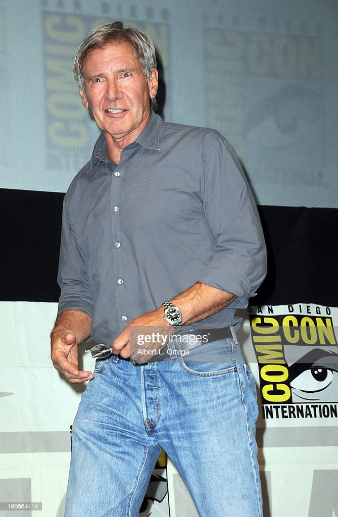 Actor Harrison Ford participates in Summit Entertainment's 'Divergent' and 'Ender's Game' panels on Day 1 of the 2013 Comic-Con International held at San Diego Convention Center on Thursday July 18, 2012 in San Diego, California.
