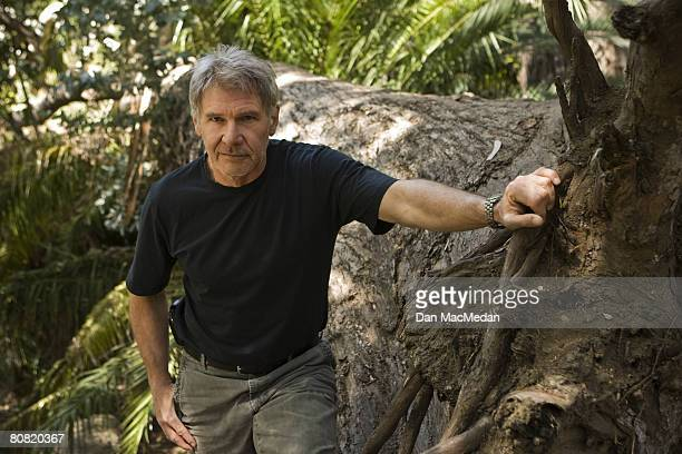 Actor Harrison Ford poses at a portrait session in Temescal Canyon outside of Los Angeles CA