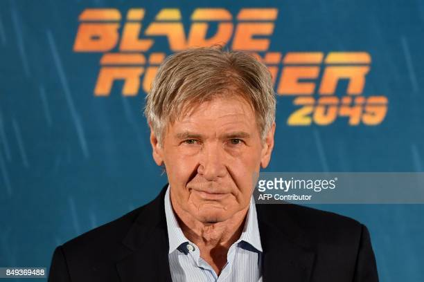 """Actor Harrison Ford poses during the photocall of the film """"Blade Runner 2049"""" in Madrid on September 19, 2017. / AFP PHOTO / GABRIEL BOUYS"""