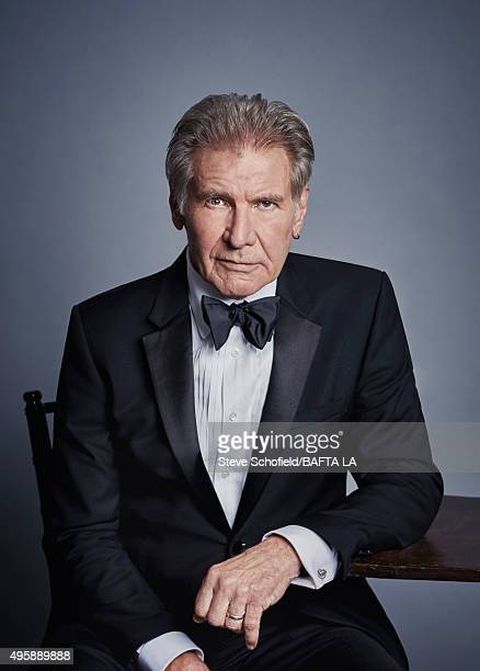 Actor Harrison Ford poses for a portrait at the 2015 BAFTA Britannia Awards Portraits on October 30 2015 at the Beverly Hilton Hotel in Beverly Hills...