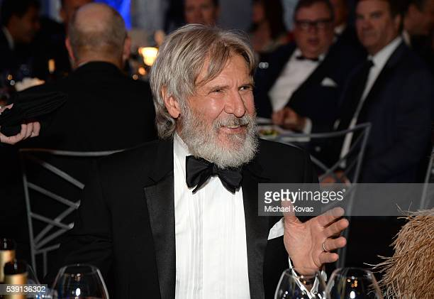 Actor Harrison Ford poses in the audience during American Film Institute's 44th Life Achievement Award Gala Tribute to John Williams at Dolby Theatre...