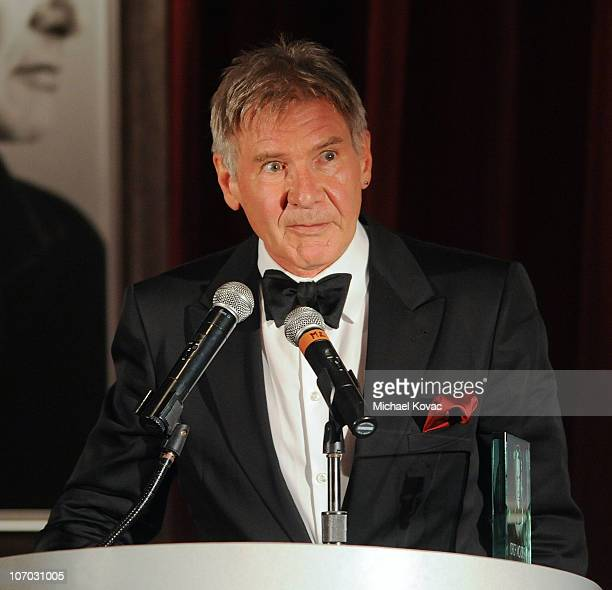 Actor Harrison Ford presents at SBIFF's 5th Annual Kirk Douglas Award For Excellence In Film Ceremony at The Four Seasons Biltmore on November 19...