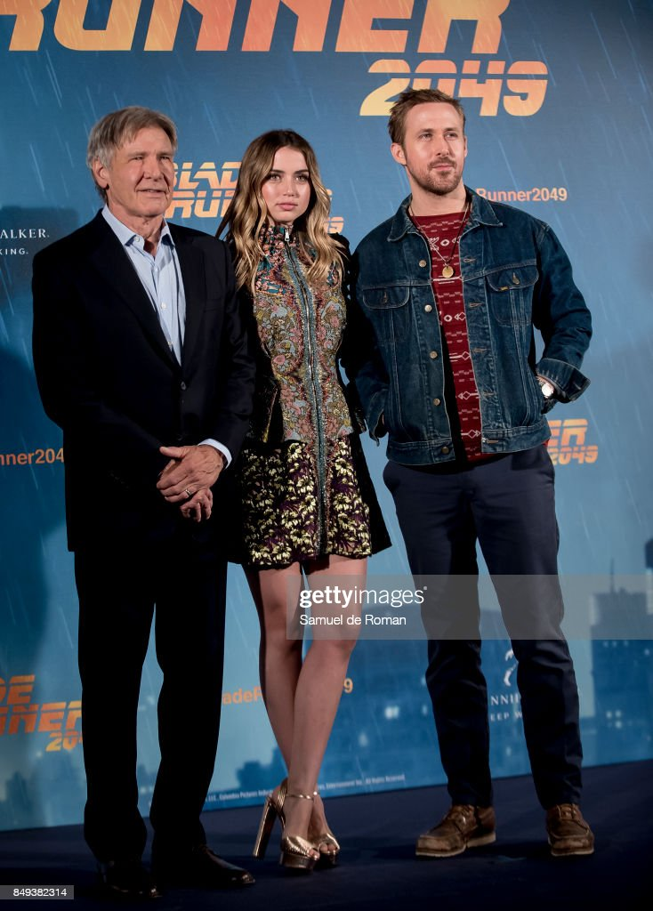Actor Harrison Ford, Ryan Gosling and Ana de Armasduring 'Blade Runner 2049' Madrid Photocall on September 19, 2017 in Madrid, Spain.