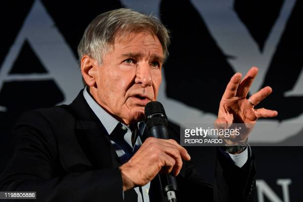 US actor Harrison Ford speaks at a press conference for the premiere of his new movie Call of the Wild on February 5 in Mexico City