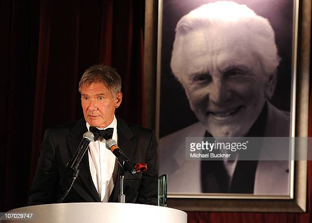 Actor Harrison Ford speaks at the Santa Barbara International Film Festival's 5th Annual Kirk Douglas' Excellence In Film Awards at the The Four...