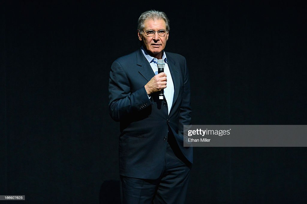 Actor Harrison Ford speaks during a Lionsgate Motion Picture Group presentation to promote the upcoming film 'Ender's Game' at The Colosseum at Caesars Palace during CinemaCon, the official convention of the National Association of Theatre Owners, on April 18, 2013 in Las Vegas, Nevada.