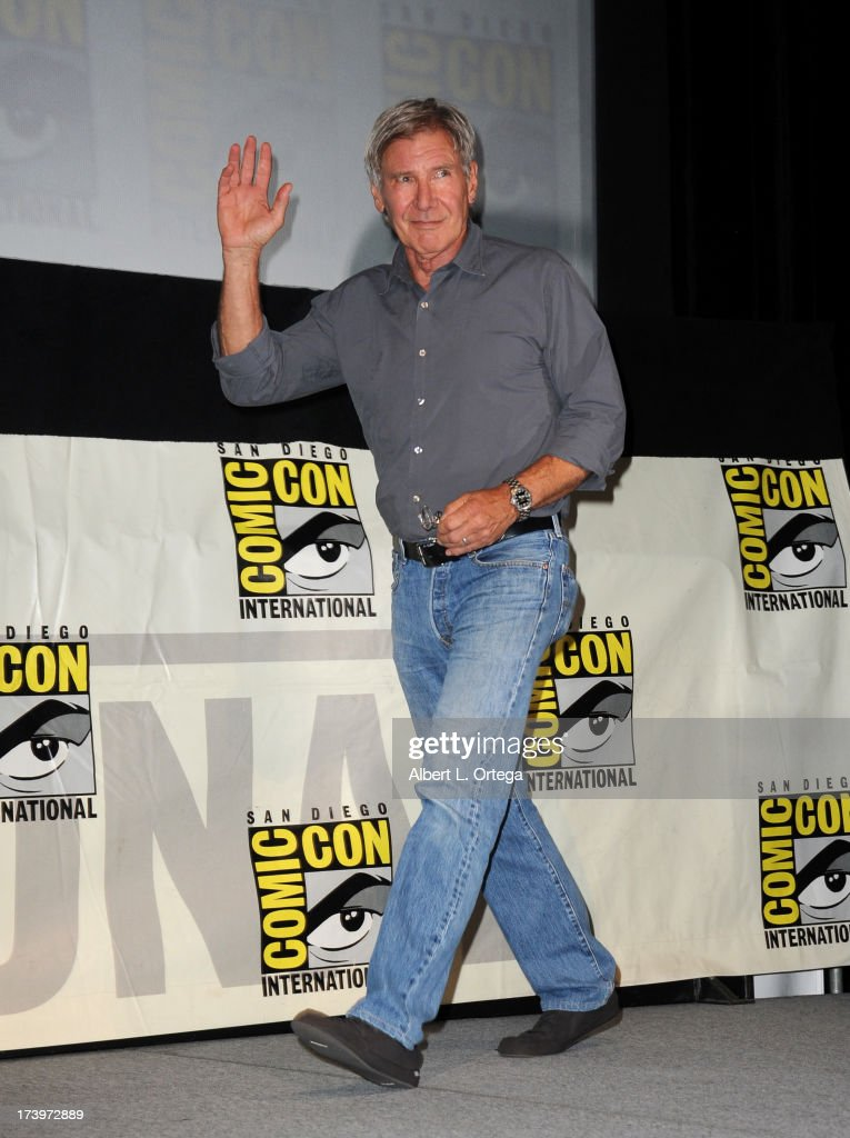 Actor Harrison Ford speaks onstage at the 'Ender's Game' and 'Divergent' panels during Comic-Con International 2013 at San Diego Convention Center on July 18, 2013 in San Diego, California.