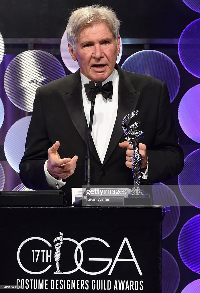 Actor Harrison Ford speaks onstage during 17th Costume Designers Guild Awards with presenting sponsor Lacoste at The Beverly Hilton Hotel on February 17, 2015 in Beverly Hills, California.