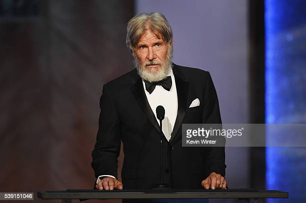 Actor Harrison Ford speaks onstage during American Film Institute's 44th Life Achievement Award Gala Tribute to John Williams at Dolby Theatre on...