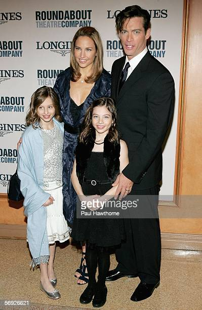 Actor Harry Connick Jr and his wife actress Jill Goodacre with their daughters Sara Kate and Georgia Tatom depart the opening night of Roundabout...
