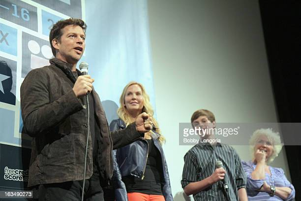 Actor Harry Connick Jr Eloise Dejoria Chandler Canterbury and Fionnula Flanagan speak onstage at the When Angels Sing QA during the 2013 SXSW Music...