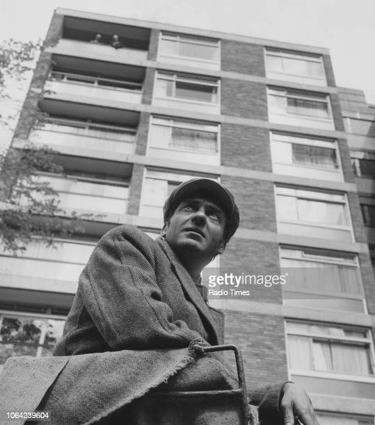 Actor Harry H Corbett photographed outside a block of flats for Radio Times in connection with episode 'The Piano' of the television sitcom 'Steptoe...