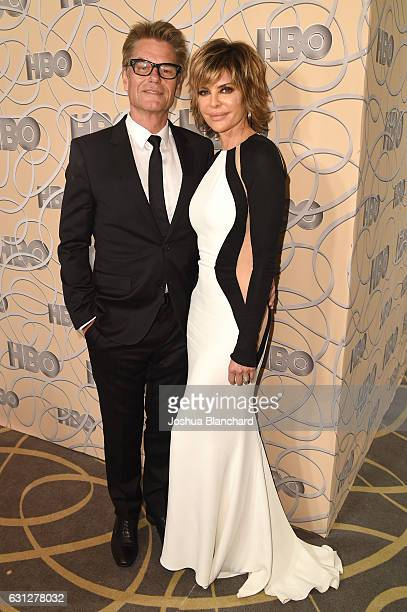 Actor Harry Hamlin and actress Lisa Rinna attend HBO's Official Golden Globe Awards After Party at Circa 55 Restaurant on January 8 2017 in Beverly...