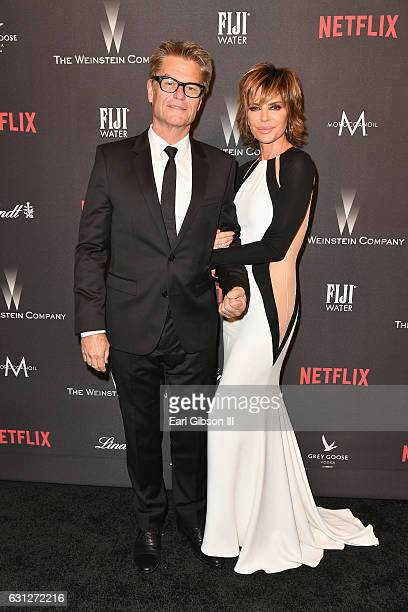 Actor Harry Hamlin and actress Lisa Rinna attend The Weinstein Company and Netflix Golden Globe Party presented with FIJI Water Grey Goose Vodka...