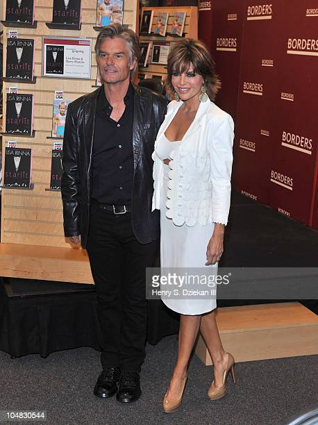 Actor Harry Hamlin and actress Lisa Rinna promote Starlit Full Frontal Nudity at Borders Books Music Columbus Circle on October 5 2010 in New York...