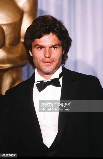Actor Harry Hamlin poses backstage during the 54th Academy Awards at Dorothy Chandler Pavilion in Los AngelesCalifornia