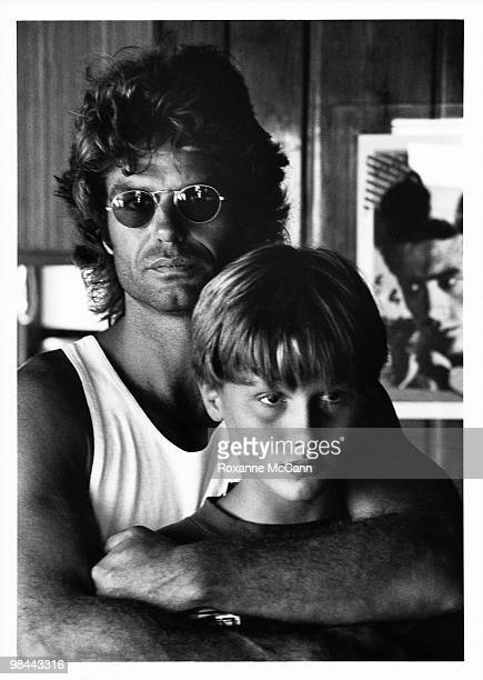 Actor Harry Hamlin poses for a photo with his son Dimitri Hamlin at their home on August 1 1993 in Malibu California