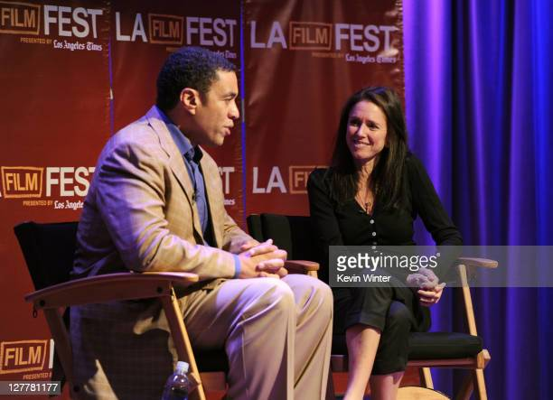 Actor Harry Lennix and director Julie Taymor speak onstage at The Art of Translation: A Conversation with Julie Taymor during the 2011 Los Angeles...