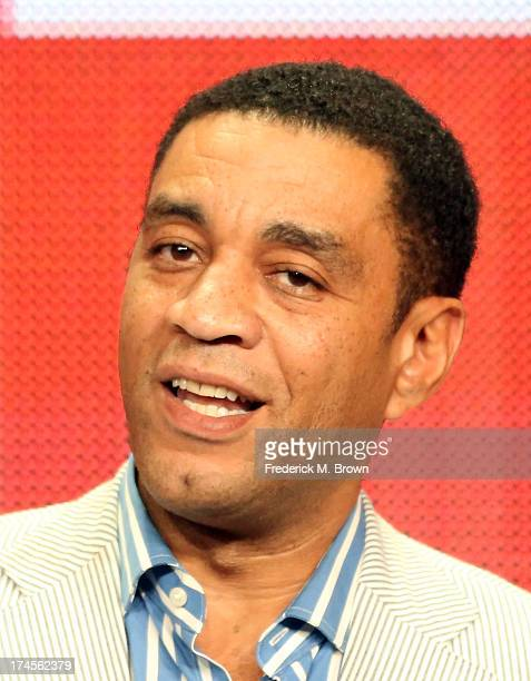 """Actor Harry Lennix speaks onstage during """"The Blacklist"""" panel discussion at the NBC portion of the 2013 Summer Television Critics Association tour -..."""