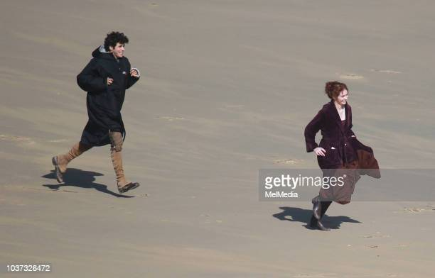 Actor Harry Richardson as Drake and Eleanor Tomlinson as Demelza filming the fifth season of Poldark on September 21 2018 in Cornwall England