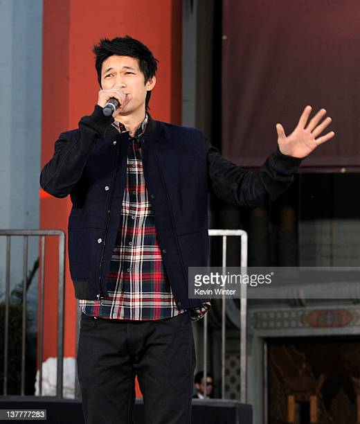 Actor Harry Shum Jr. Appears at the Michael Jackson Hand and Footprint ceremony at Grauman's Chinese Theatre on January 26, 2012 in Los Angeles,...