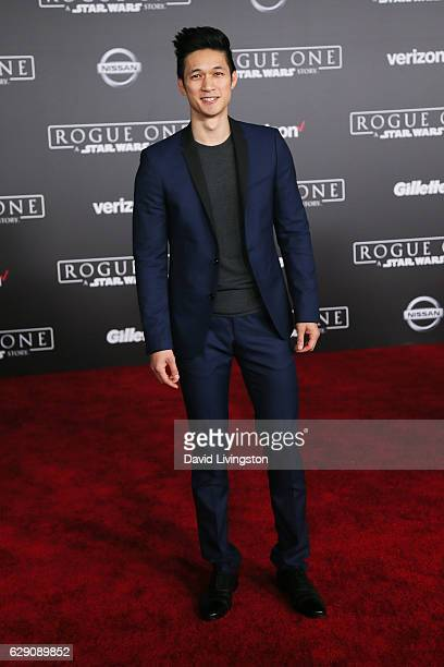 Actor Harry Shum Jr arrives at the premiere of Walt Disney Pictures and Lucasfilm's 'Rogue One A Star Wars Story' at the Pantages Theatre on December...