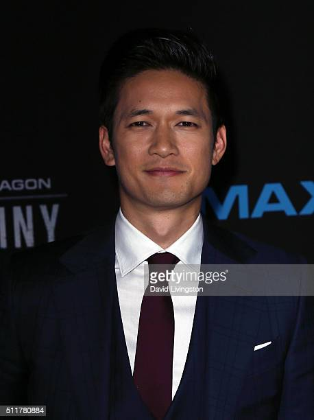 Actor Harry Shum Jr attends the premiere of Netflix's Crouching Tiger Hidden Dragon Sword of Destiny at AMC Universal City Walk on February 22 2016...