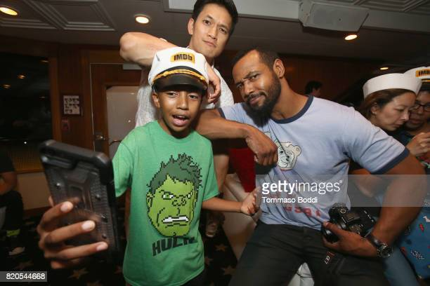 Actor Harry Shum Jr., Miles Brown and Isiah Mustafa attend the #IMDboat Party at San Diego Comic-Con 2017, Presented By XFINITY on The IMDb Yacht on...