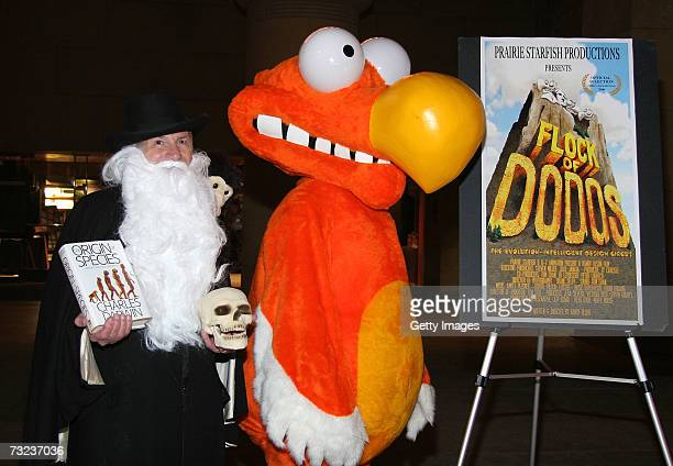 Actor Harvey Cohen posing as Darwin and a Dodo in costume attends the Flock Of Dodos screening at the Egyptian Theatre February 6 2007 in Hollywood...